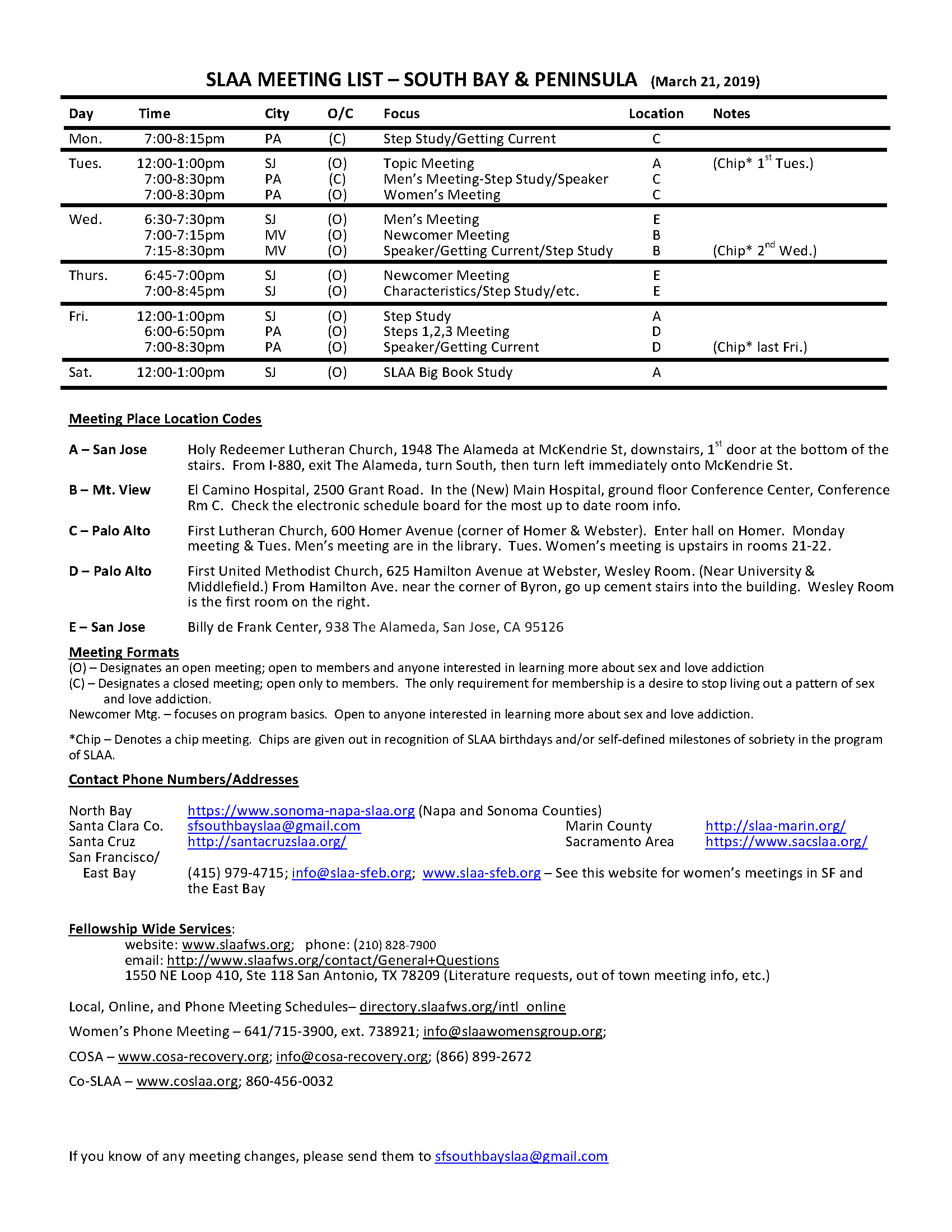 south bay meeting schedule
